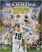 "Product Image. Title: Autographed Peyton Manning and Eli Manning ""Back to Back MVP"" Super Bowl XLI/XLII 16x20 Collage Photograph"
