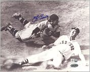 Product Image. Title: Autographed Yogi Berra vs. Ted Williams Slide - Black & White Horizontal 8x10 Photograph