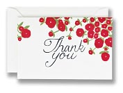 Product Image. Title: Red Flower Whimsical Thank You Set of 10