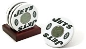 Product Image. Title: White New York Jets Logo Coasters with Gamed Used Turf - Set of 4