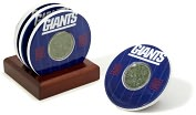 Product Image. Title: New York Giants Final Season Coasters with Yard Markers and Game Used Turf - Set of 4