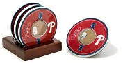 Product Image. Title: Philadelphia Phillies Coasters with Game Used Dirt - Set of 4