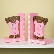Product Image. Title: Pink Teddy Bears Wooden Bookends