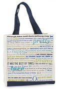 Product Image. Title: Jonathan Adler Booked Bag Canvas Navy Tote (14x14)