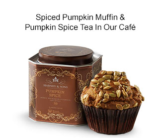 Spiced Pumpkin Muffin & Pumpkin Spice Tea In Our Cafe