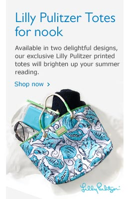 Lilly Pulitzer Totes for nook: Available in two delightful  designs, our exclusive Lilly Pulitzer printed totes will brighten up  your summer reading. Shop Now.
