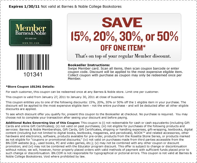 Barnes and noble coupons in store