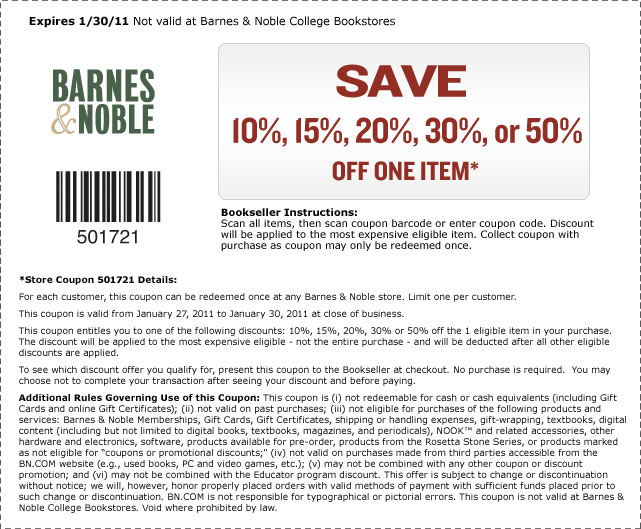 Barnes and noble coupon codes january 2019