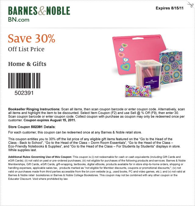 barnes noble then grab this printable coupon