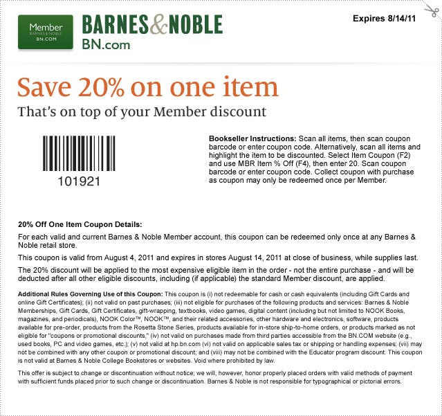 Find the best Barnes and Noble coupons, promo codes and deals for December All coupons hand-verified and guaranteed to work. Exclusive offers and bonuses up to % back!