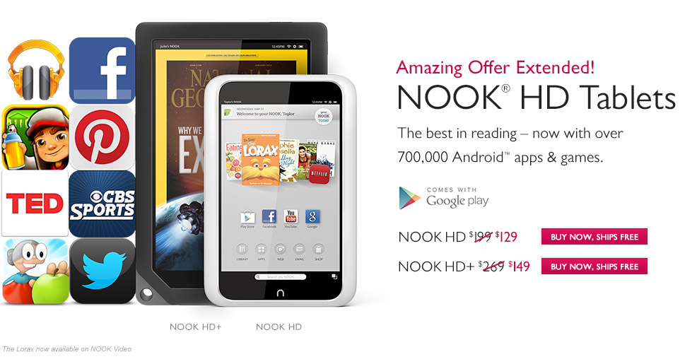 This Week Only! - Our Best Prices Ever - Save up to $120 on NOOK HD Tablets
